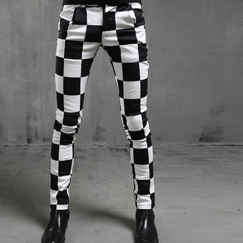 Checkered Chess Pattern Men Skinny Pants - FanFreakz