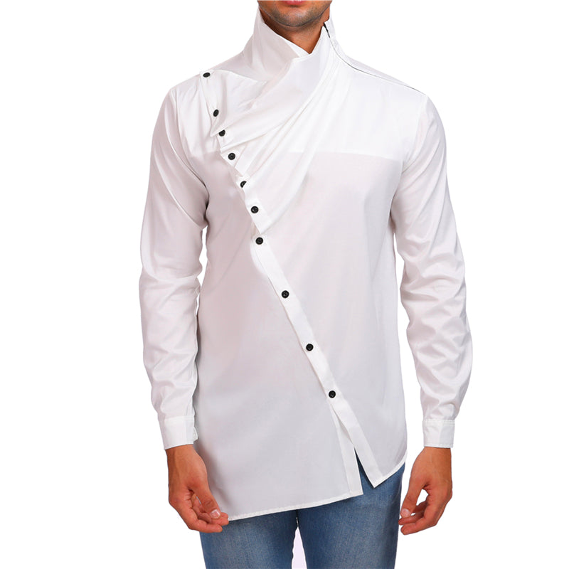 Askew Button High Neck Design Men Long Sleeves Shirt - FanFreakz