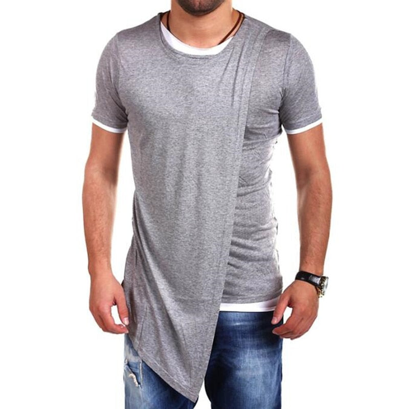 Oblique Double Layers Hip Hop Style Men Short Sleeves T Shirt