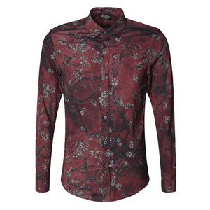 Vintage Slim with Printed Flower Men Long Sleeve Shirt