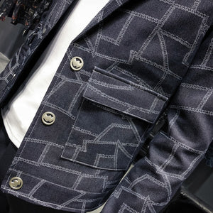 Puzzle Plaid Slim Fit Casual Men Blazer