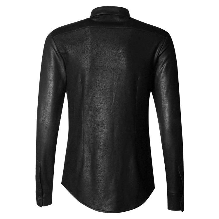 Black Solid Retro British Style Men Slim Long Sleeve Shirt - FanFreakz