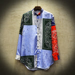 Hip Hop Patchwork Printed Long Sleeve Style Men Shirts