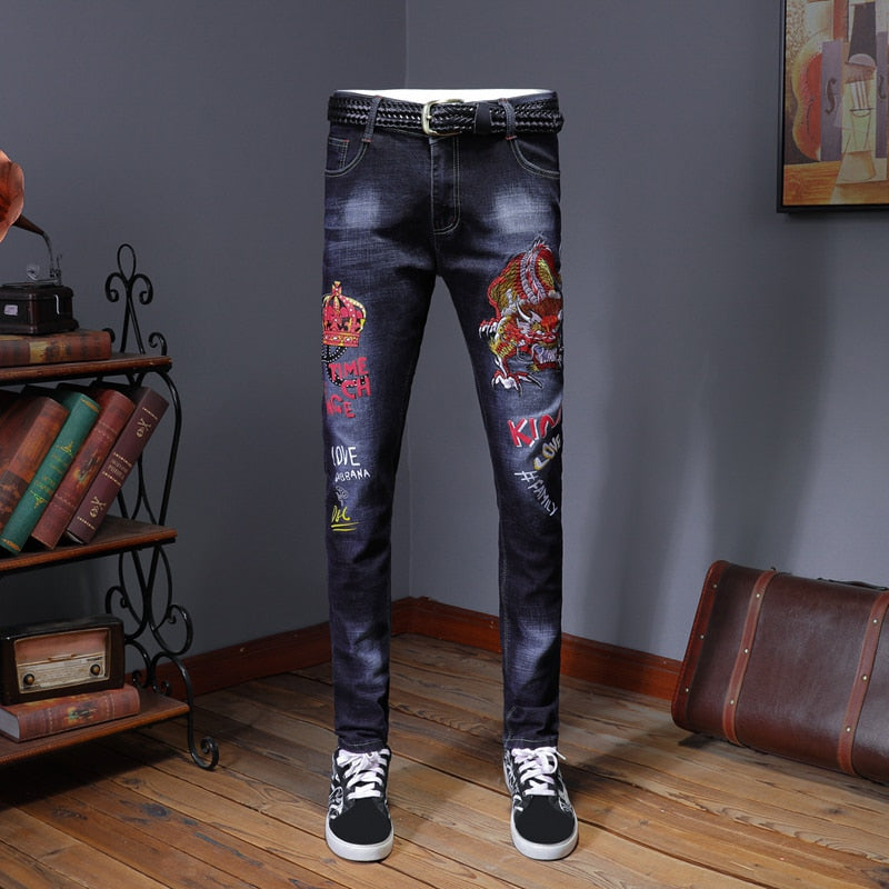 Embroidery Blue Slim Skinny Pencil Jeans