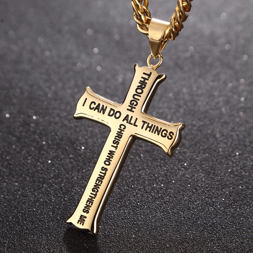 Bible Verse With Curb Chain Gold/Silver  Stainless Steel Cross Pendant Necklace - FanFreakz