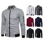 Quilt Pattern Men Stand Neck Collar Casual Slim Fit Bomber Jacket