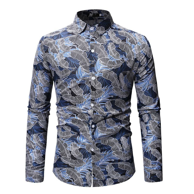 Mens Leaf Printed Casual Hawaiian Shirts