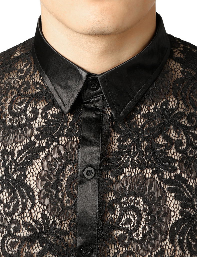 Black Lace Sexy See-through Men Long Sleeves Shirts - FanFreakz