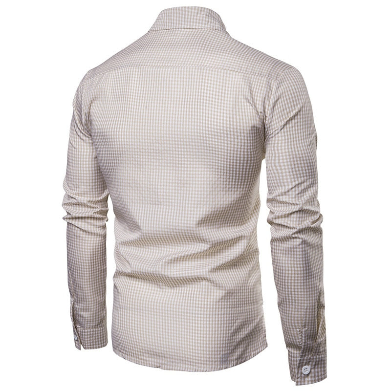 Casual Neat Compact Checkered Men Long Sleeve Shirt - FanFreakz