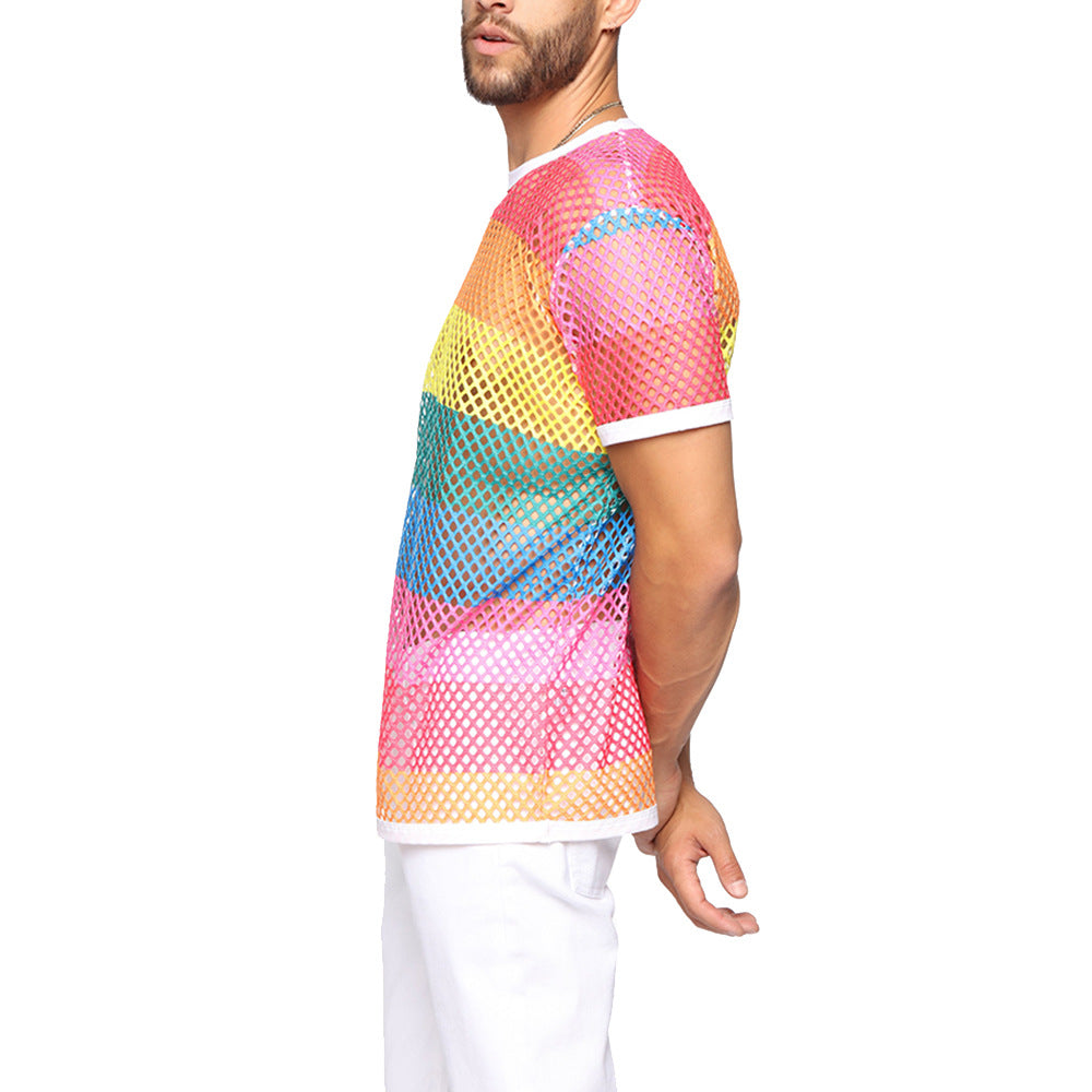 Rainbow Mesh See Through Fishnet Short Sleeves Style Men T-Shirt