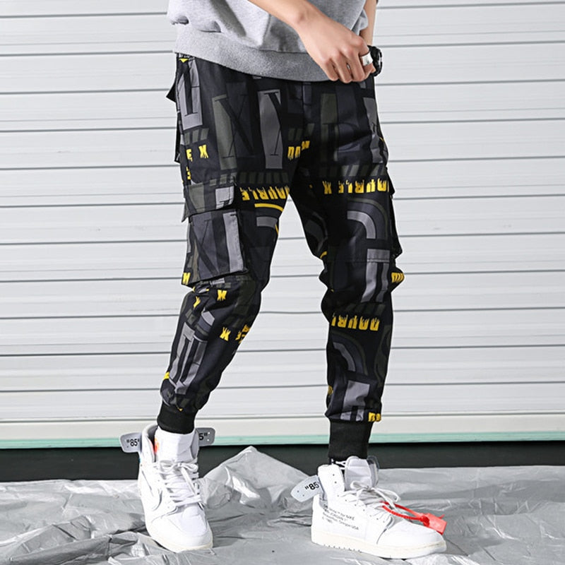 Side Pockets Printed Cargo Hip Hop Casual Style Men Pants
