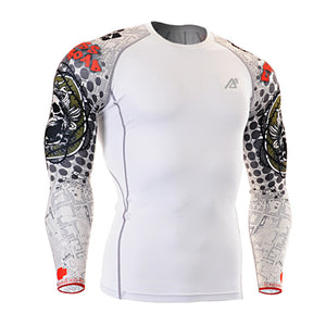 Dots Muscle Men Compression Shirt Tight Skin Shirt Long Sleeves 3D Prints - FanFreakz
