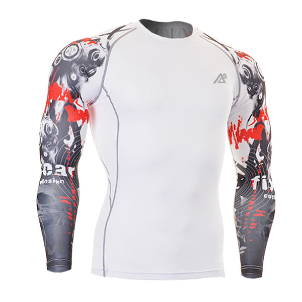 Bloody Muscle Men Compression Shirt Tight Skin Shirt Long Sleeves 3D Prints