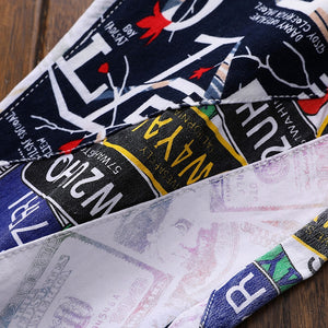 Mixed Colorful Letters Men Newspaper Printed Jeans