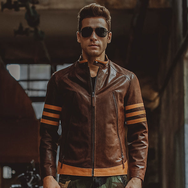 Vintage Style Biker Motorcycle Genuine Men Leather Jacket Genuine