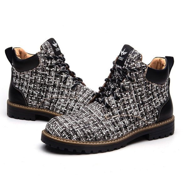 Checkered Gingham Style Men Winter Boots