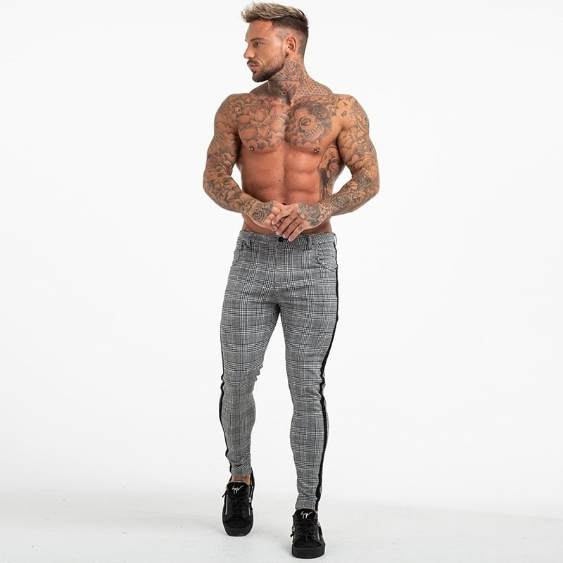 Grey Plaid Side Stripe Slim Fit Skinny Style Men Pants