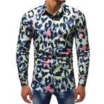 Leopard Pop Art Pattern Print Men Slim Fit Long Sleeves Shirt
