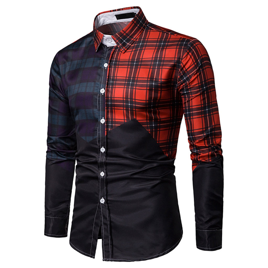Casual Long Sleeve Plaid Patched Design Men Shirt - FanFreakz