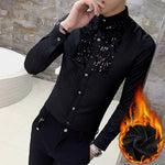 Simple Sequin Detail Chest Men Slim Warm Shirt