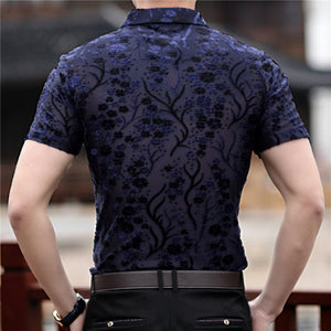 Small Floral Pattern Slim Fit Thin Semi See Through Men Shirt - FanFreakz