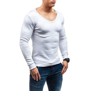 Basic O Neck Men Hooded Slim Long Sleeves T-Shirt - FanFreakz