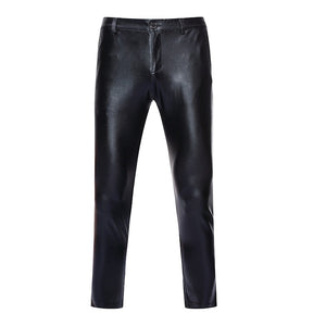 Solid Coated Metallic Skinny Shiny Stage Style Men Pants