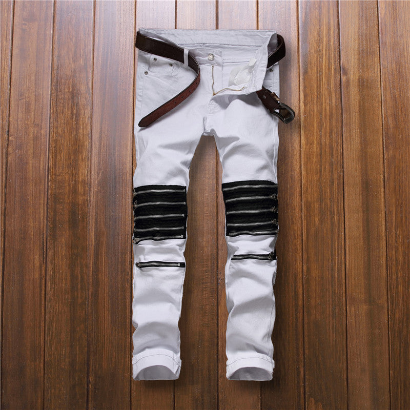 Multi Zippers Knee Detail Men Jeans