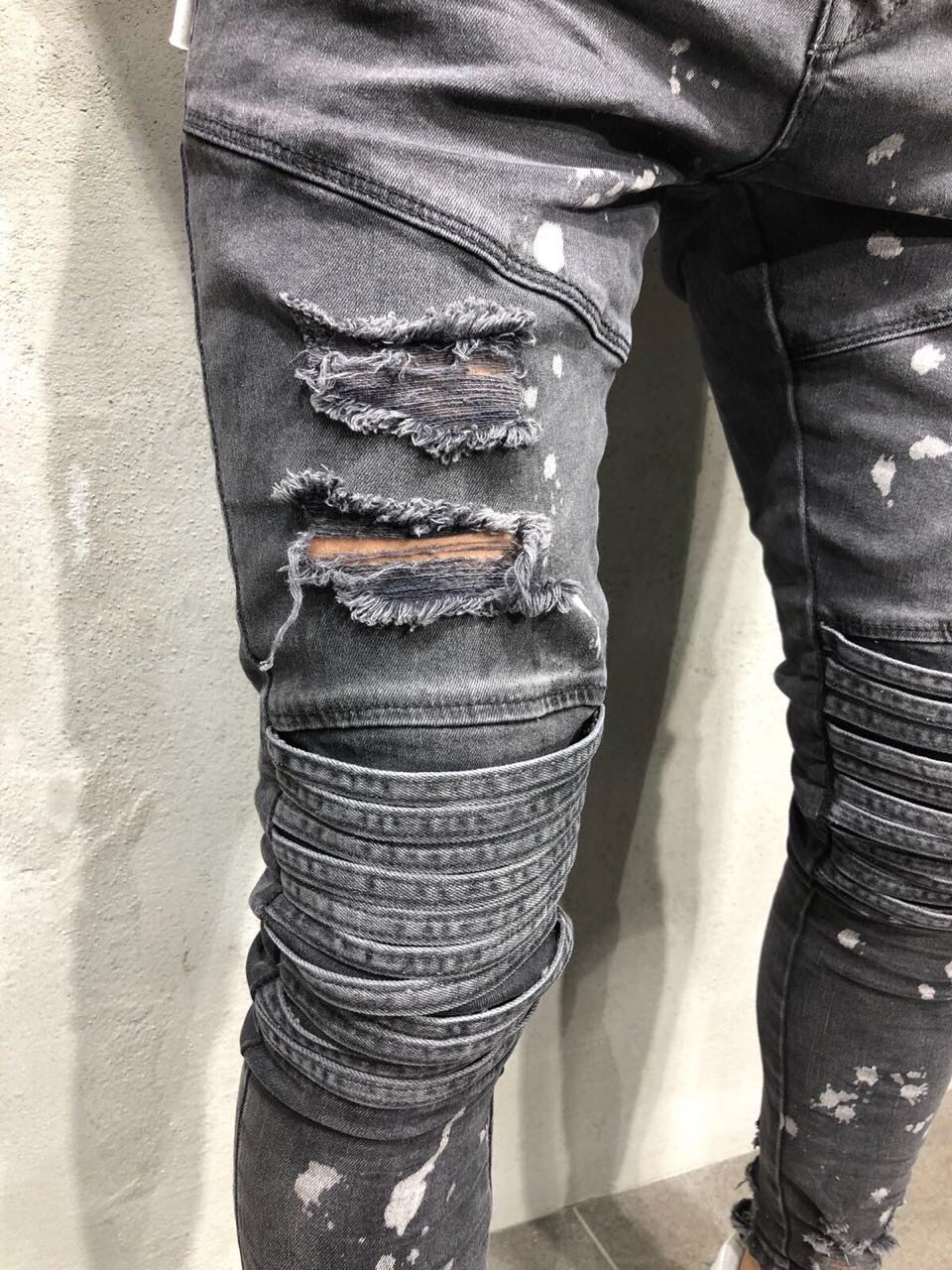 Faded Dark Grey Hollow Out Paint Spots Detail Men Jeans