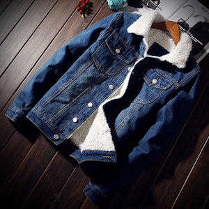 Blue Denim and White Wool Combination Men Casual Jacket - FanFreakz