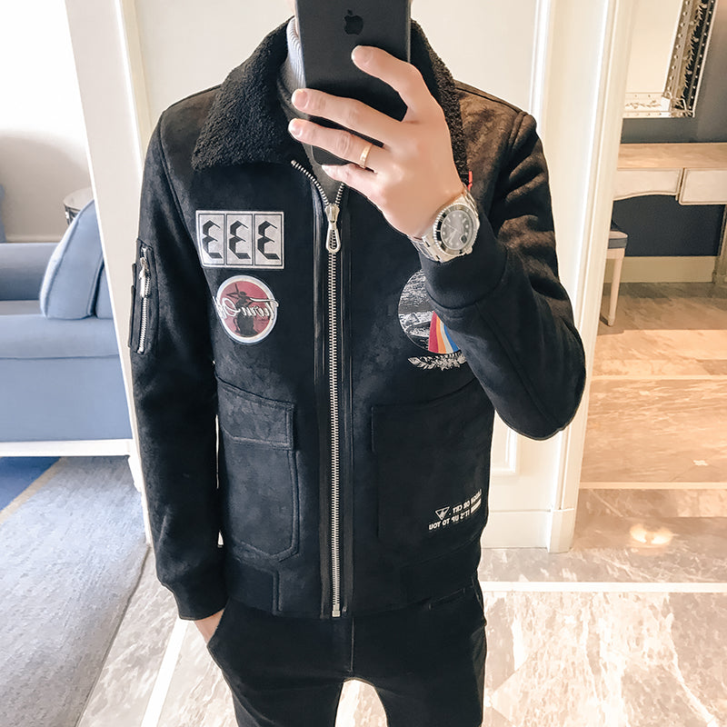 Black Faux Leather Suede with Patched Badges Detail Men Jacket - FanFreakz