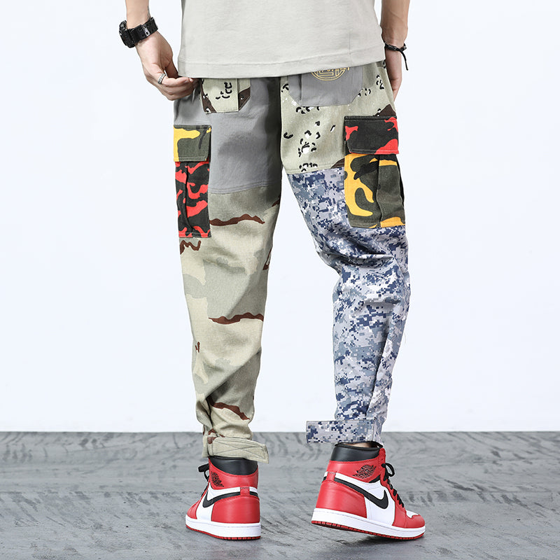 1f16d360dc9 Mix Camouflage Pattern Patchwork Tactical Style Men Cargo Pants ...