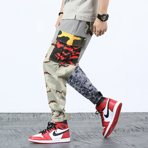Mix Camouflage Pattern Patchwork Tactical Style Men Cargo Pants