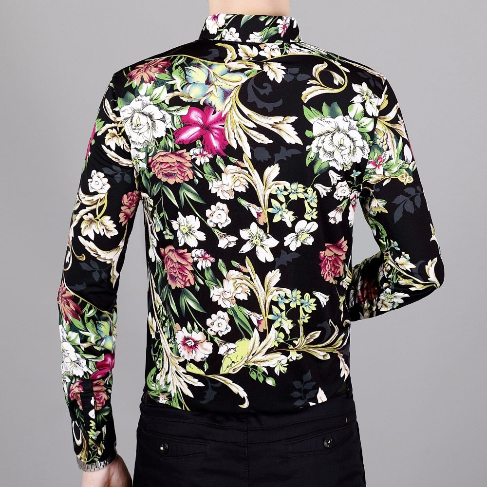 Whole Floral Printed Men Long Sleeves Shirt