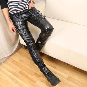 Gothic Punk Fashion Men Faux Leather Pants with Buckle Application Details