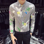 Striped with Flower and Bird Print Men Casual Slim Fit Long Sleeves Shirt