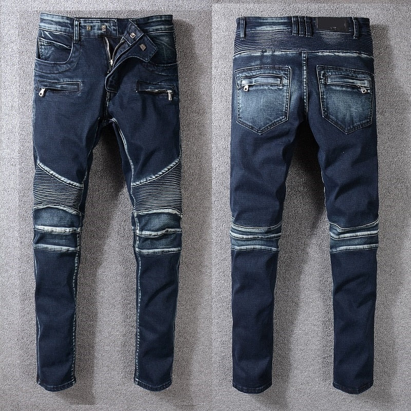 Dark Blue with Zipper Pocket and Pleated Knee Details Men Jeans - FanFreakz