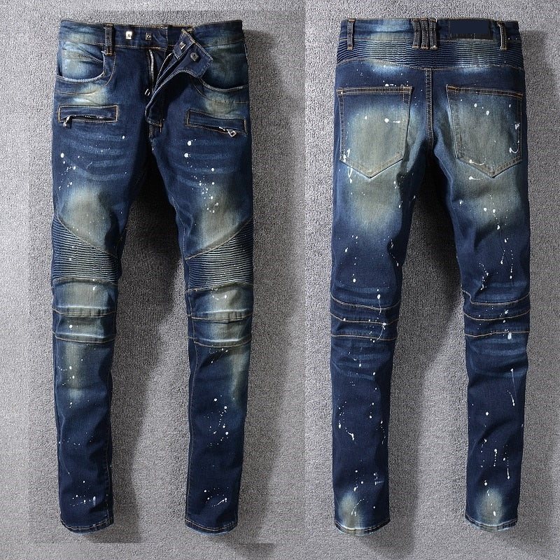 Blue with Paint Spots and Faded Partial Detail Men Slim Jeans - FanFreakz