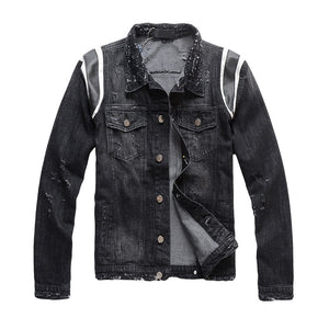 Black Patched Shoulder Simple Distressed Style Men Denim Jacket - FanFreakz