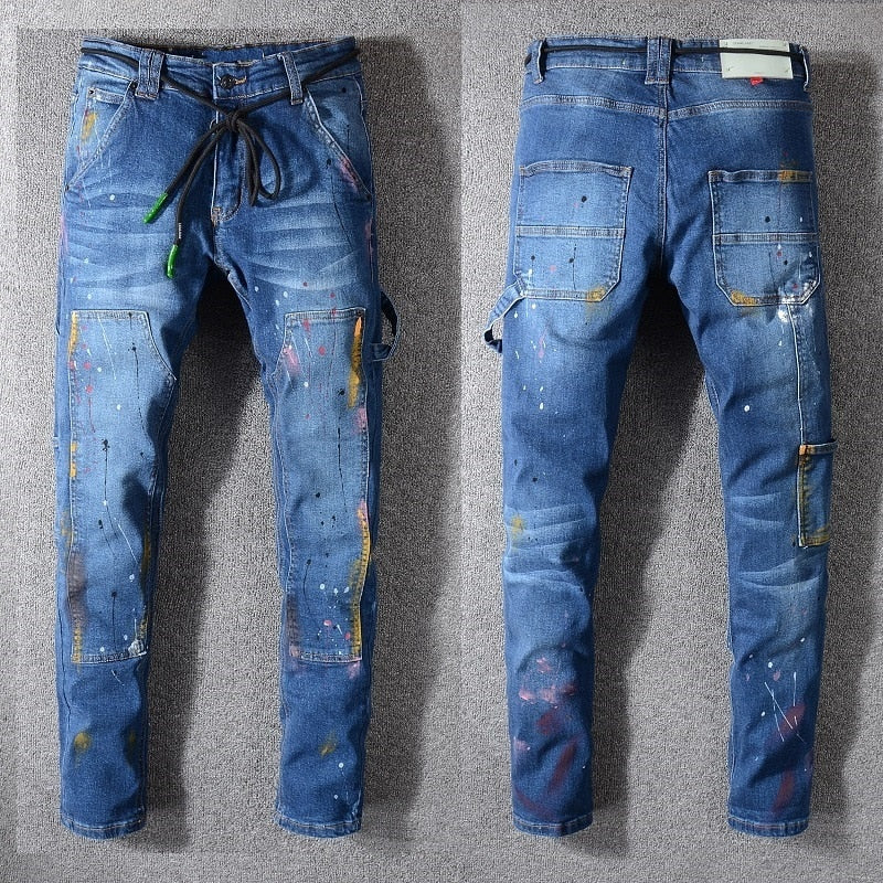 Blue Oiled Painted Hip Hop Style Men Washed Skinny Jeans - FanFreakz