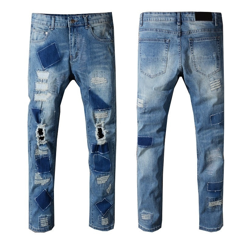 Hollow Out Patches Men Slim Blue Jeans