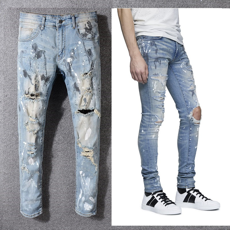 Ripped Pale Blue Painter Style Men Slim Jeans