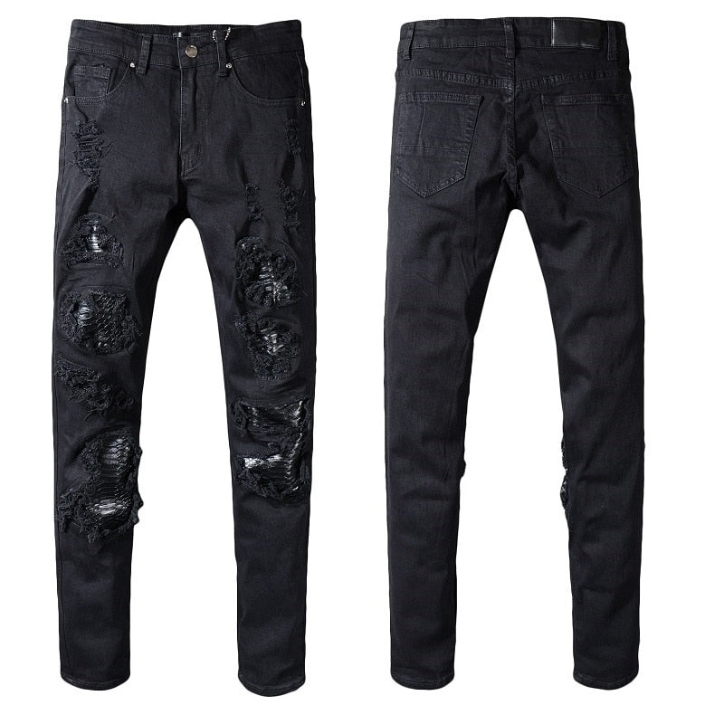 Destroyed Knee and Thigh Patchwork Style Men Slim Black Biker Jeans - FanFreakz