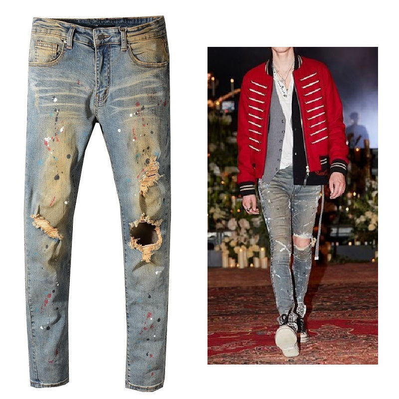 Freckle Paint Faded Gold Art Destroyed Style Men Slim Jeans