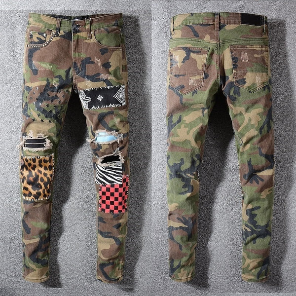Destroyed Art Patches Stretch Camouflage Slim Fit Men Jeans