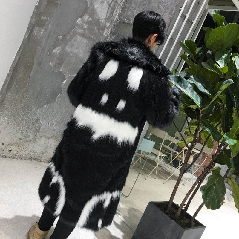 Modern Hip Hop Style Black and White Contrast Art Men Long Fur Coat