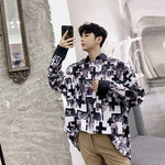 Retro Geometric Landscape Pattern Men Long Sleeves Loose Shirt