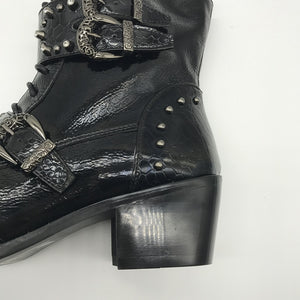 Punk Style Men High Top Boots with Iron Pointed Toe Lace Up Cowboy