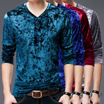 Soft Velvet V Neck Men T-Shirt