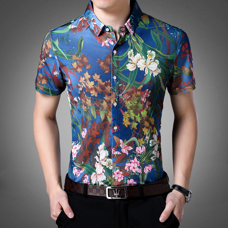 Ocean Blue in Floral Pattern Print Men Slim Fit Shirt - FanFreakz